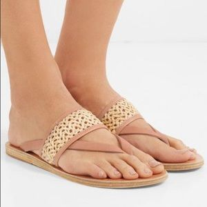 Ancient Greek Sandals Zenobia Raffia Leather